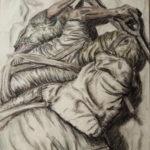 Carboncino e colori a matita - Fusain et crayons de couleur