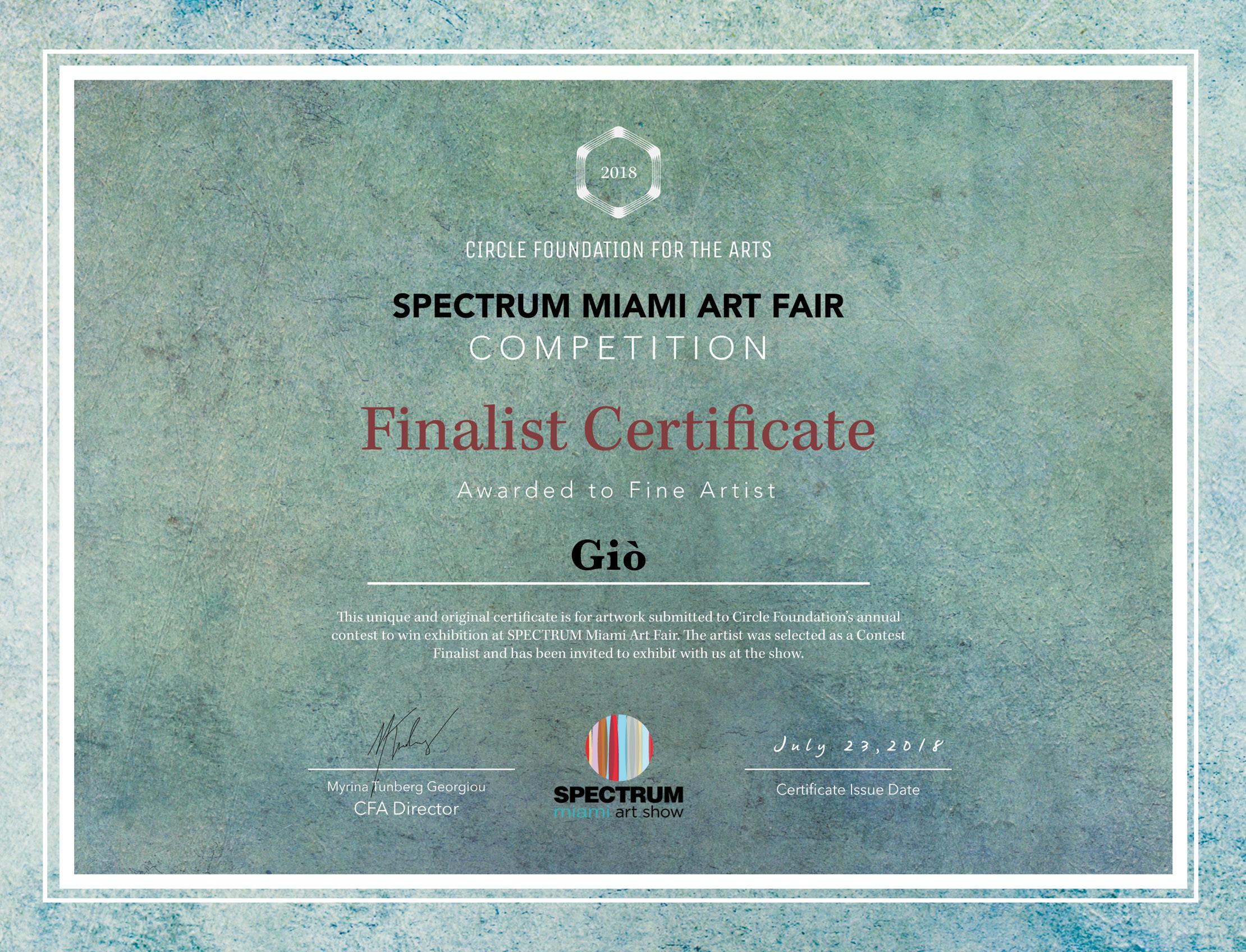 Circle-SpectrumArtFair-FinalistCertificate-Giò
